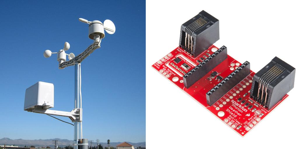 (左)氣象站(右)Sparkfun Photon 氣象擴充板